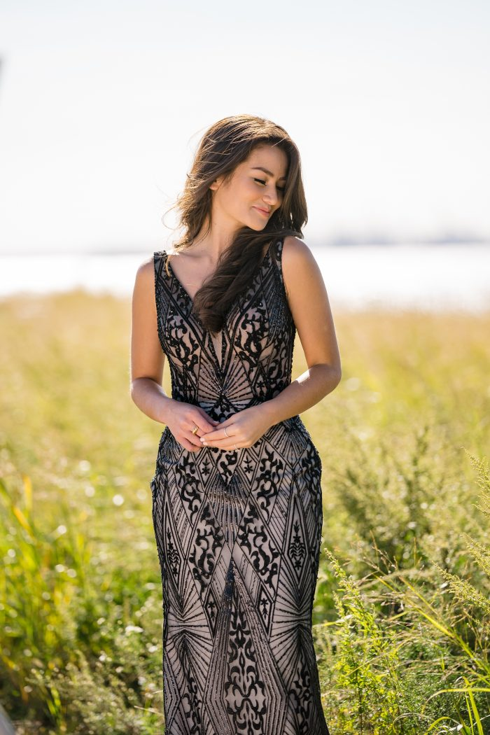 Influencer Wearing Black Art Deco Wedding Dress Called Elaine by Maggie Sottero