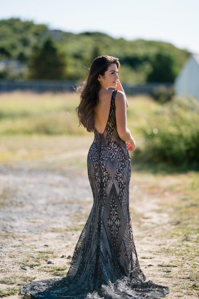 Influencer Wearing Black Art Deco Wedding Dress Called Elaine by Maggie Sottero