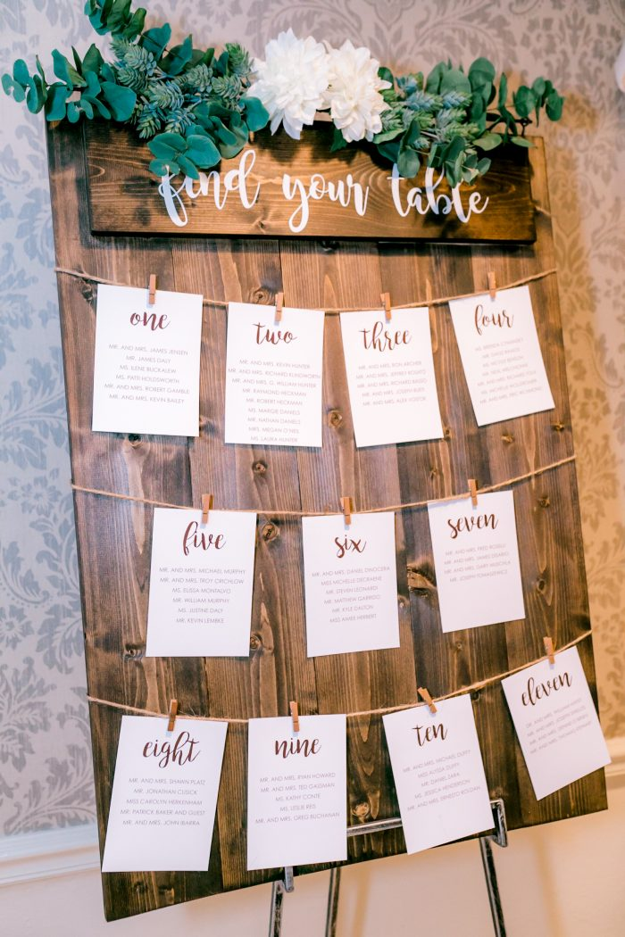 Rustic DIY Wedding Idea of Wooden Board with Guest Seating Chart On It at Reception