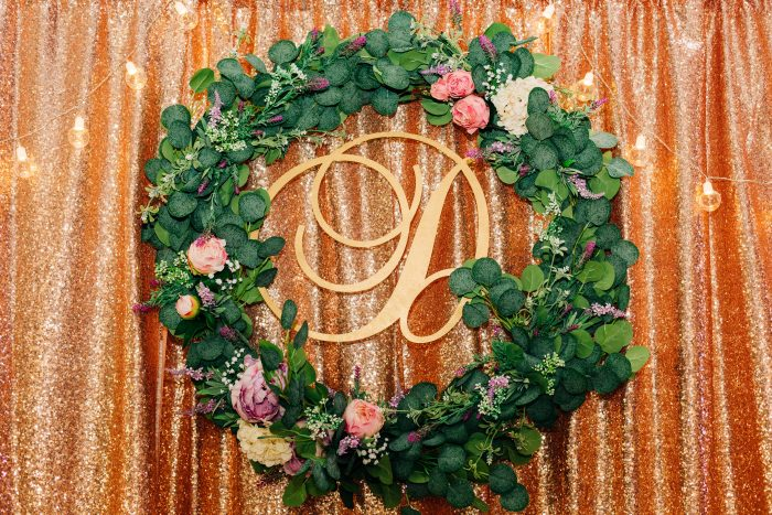 DIY Wedding Idea Wreath with Last Name Initial in the Middle