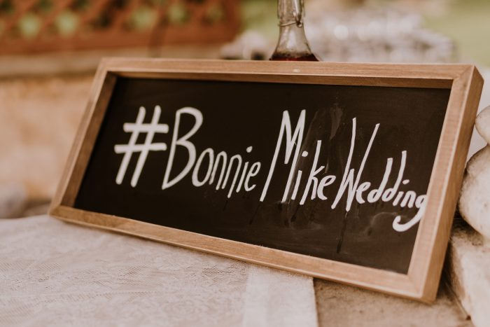 DIY Chalk Board Hashtag Sign for Real Wedding