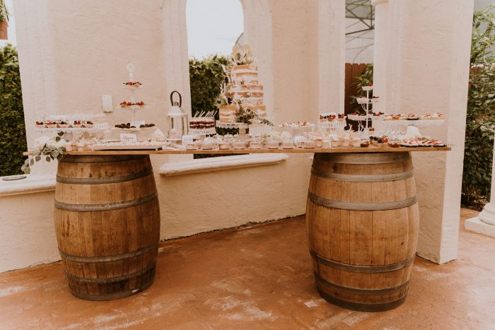 DIY Wooden Dessert Table with Barrel Legs at Real Wedding
