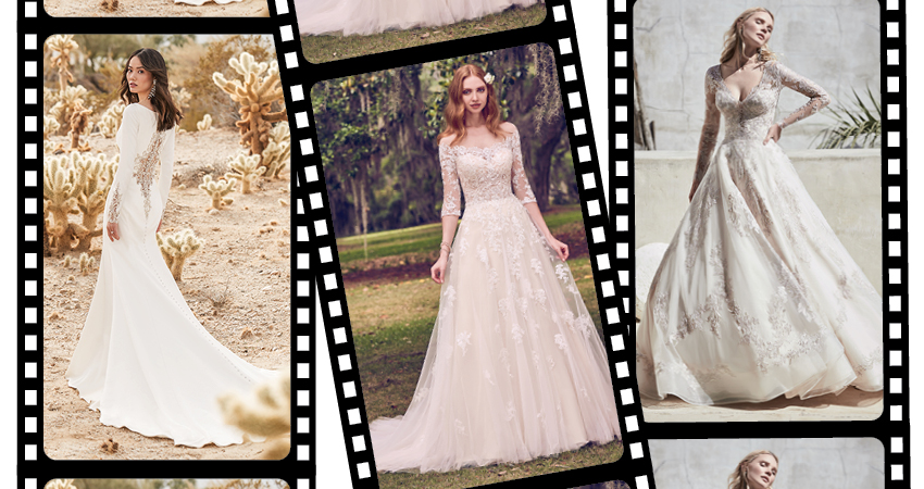 Collage of Models Wearing Iconic Movie Wedding Dresses that Match Maggie Sottero Wedding Gowns