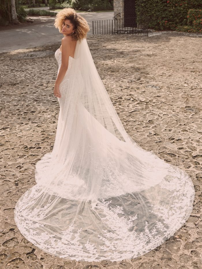 Model Wearing Strapless Lace Bridal Dress with Simple Vintage Wedding Veil Called Charmaine by Maggie Sottero
