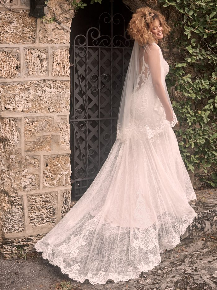 Model Wearing Lace Fit-and-Flare Wedding Dress with Fingertip Lace Bridal Veil Called Esther by Maggie Sottero