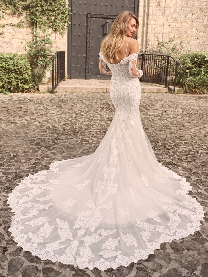 Model Wearing Fit-and-Flare Lace Wedding Dress with Extended Train Called Fiona by Maggie Sottero