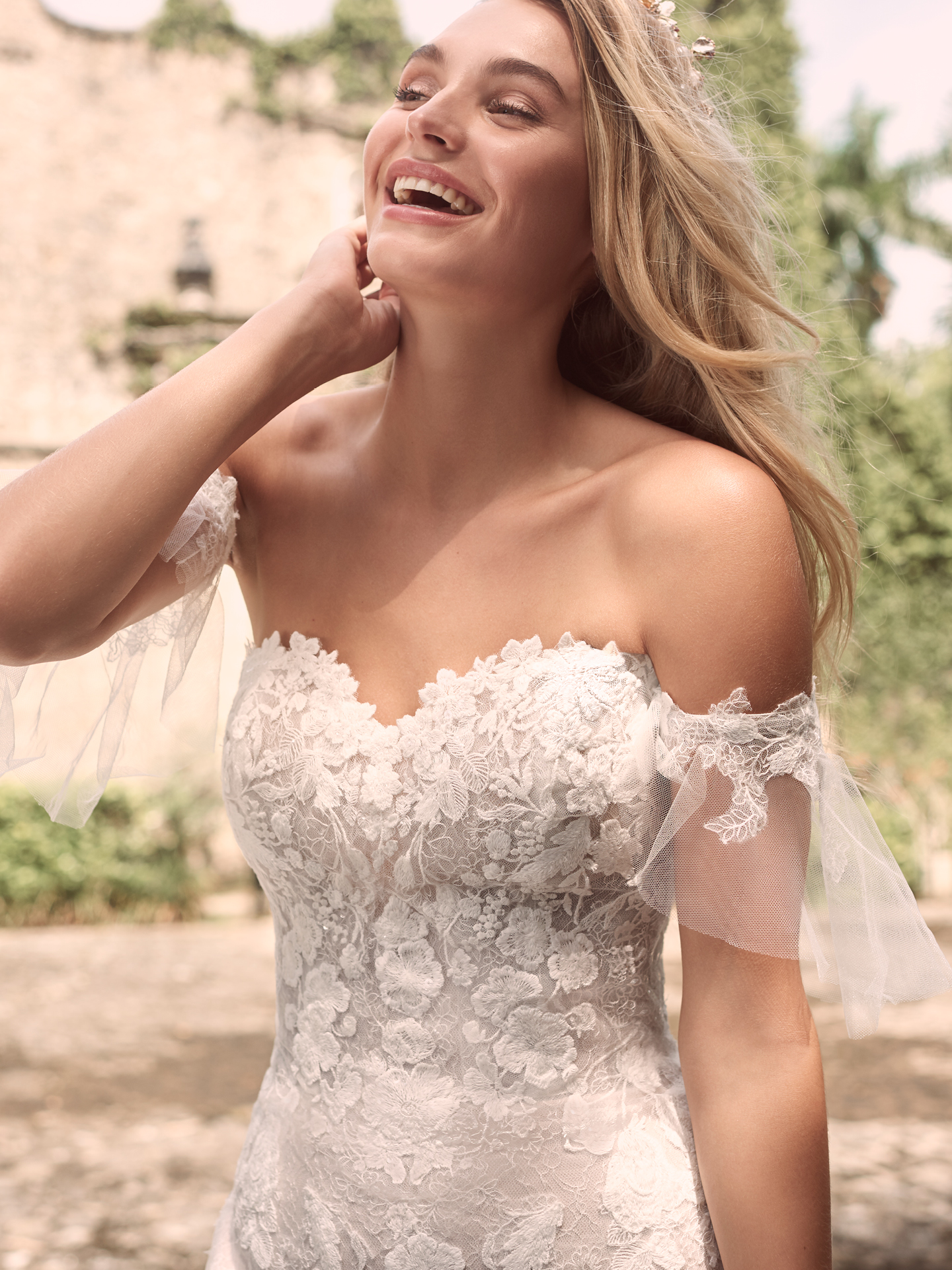 Model Wearing Sparkly Mermaid Bridal Dress with Lace Arm Bands Called Joelle by Maggie Sottero