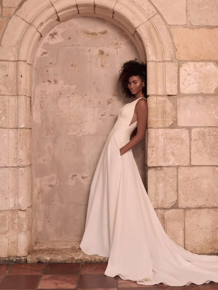 Model Wearing Crepe A-line Wedding Dress Called Josephine Lynette by Maggie Sottero