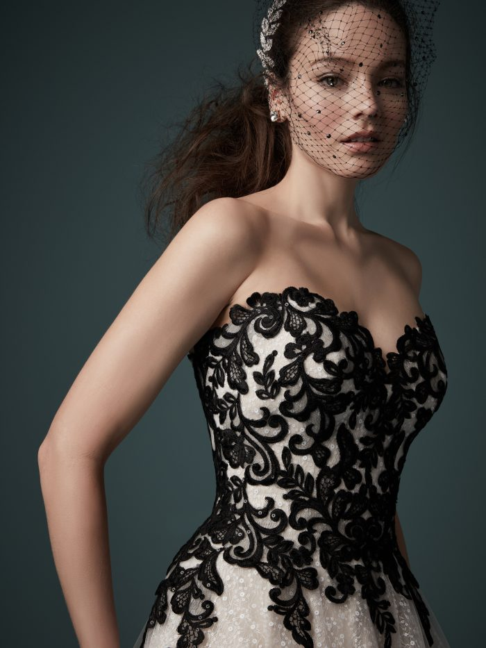 Model Wearing Black Bird Cage Veil with Maggie Sottero Wedding Dress Called Tristyn