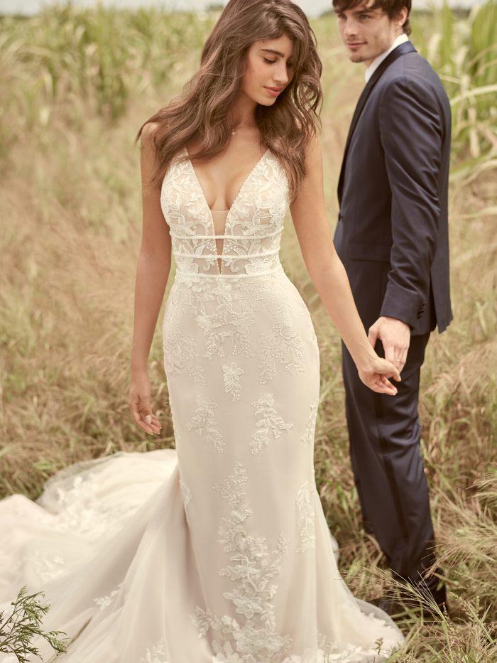Model Wearing V-back Floral Sheath Bridal Gown Called Angie by Rebecca Ingram