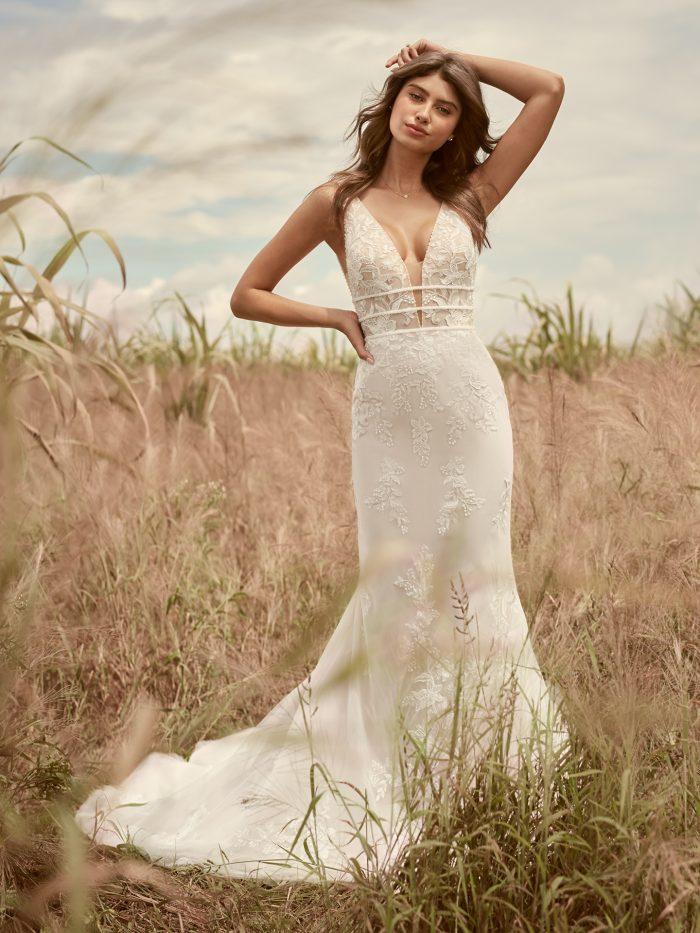 Bride Wearing V-Neck Sheath Wedding Dress for Petite Brides Called Angie by Rebecca Ingram