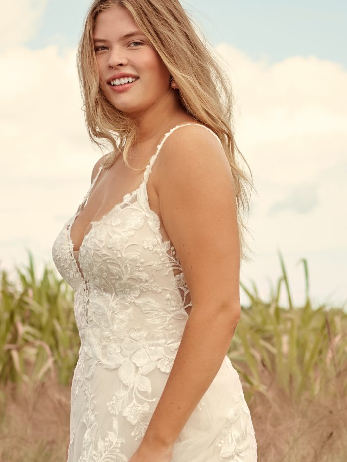 Model Wearing Affordable A-line Bridal Gown Called Ellen by Rebecca Ingram