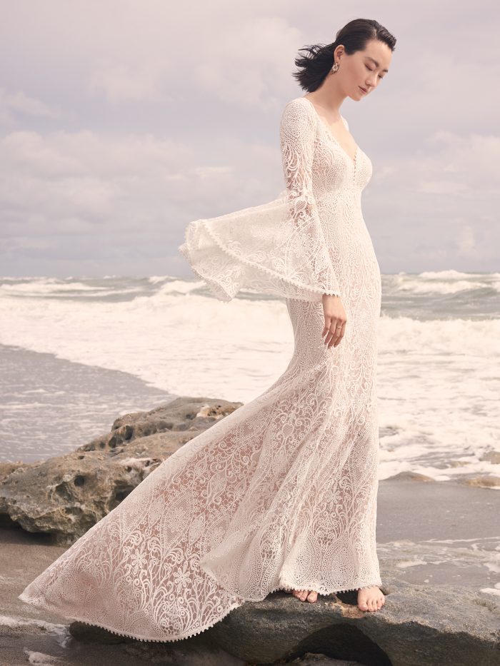 Model Wearing Vintage Lace Wedding Dress with Bell Sleeves Called Benson by Sottero and Midgley