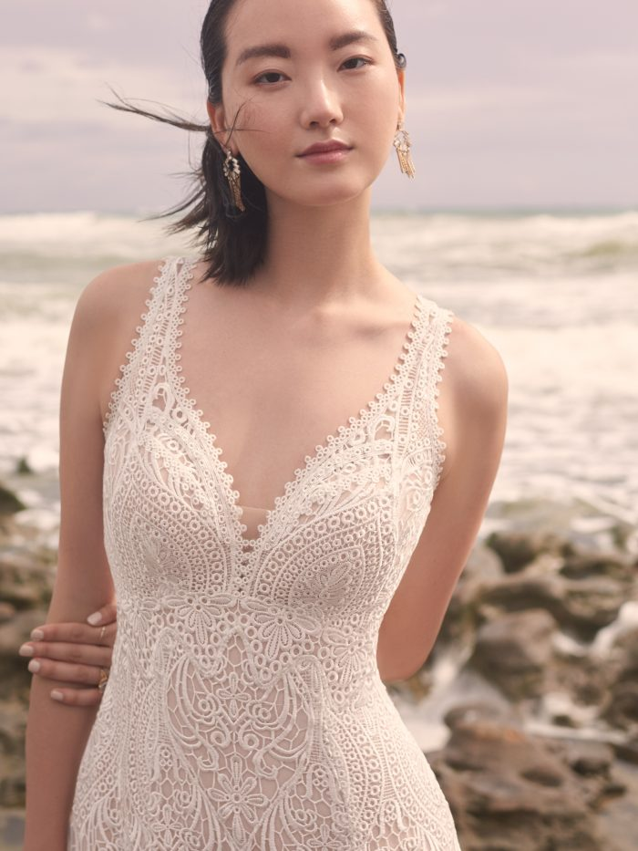 Model Wearing Vintage Lace Wedding Dress Called Benson by Sottero and Midgley