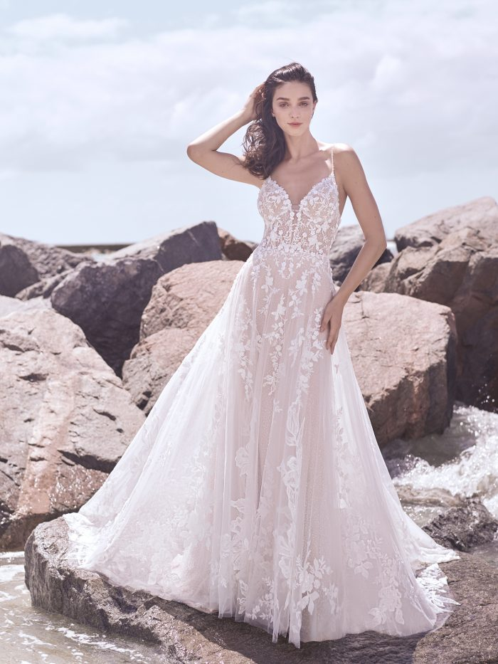 Model Wearing Dreamy Ball Gown Wedding Dress Called Marlow by Sottero and Midgley
