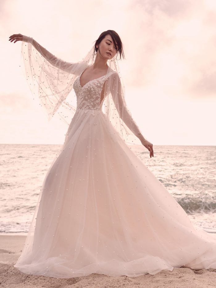 Model Wearing Sparkly Dreamy Wedding Dress Called Pierce by Sottero and Midgley