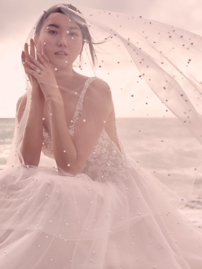 Model Wearing Dreamy Boho Beaded Wedding Dress Called Pierce by Sottero and Midgley