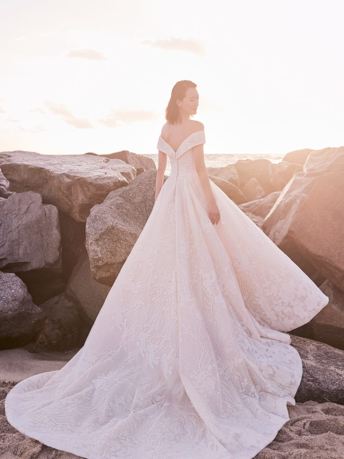Model Wearing Off-the-Shoulder Classic Ball Gown Wedding Dress Called Thomas by Sottero and Midgley