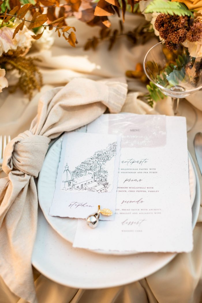 Italian Wedding Shoot Table Setting with Wedding Menu with Map of Italy