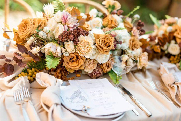 Fall Wedding Bouquet with Italian Wedding Menus on Table