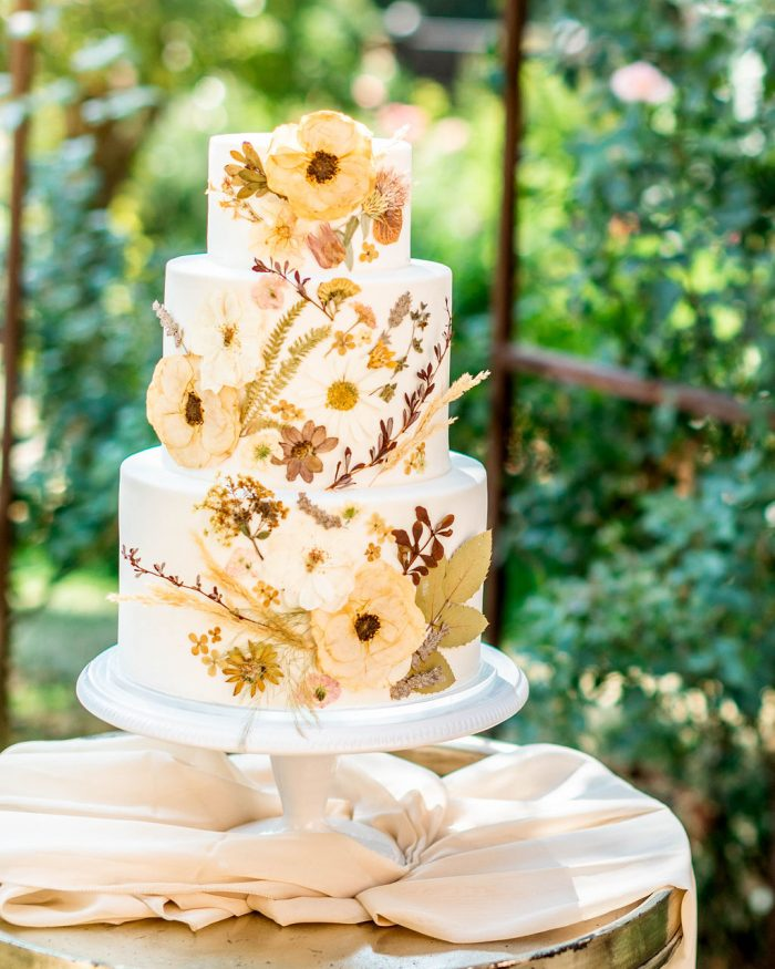 Three Tier Rustic Tuscany Wedding Cake with Florals