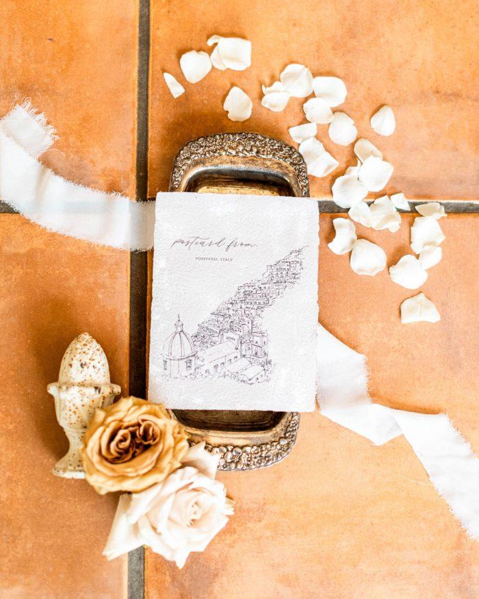 Italian Wedding Invitation on Terracotta Stones