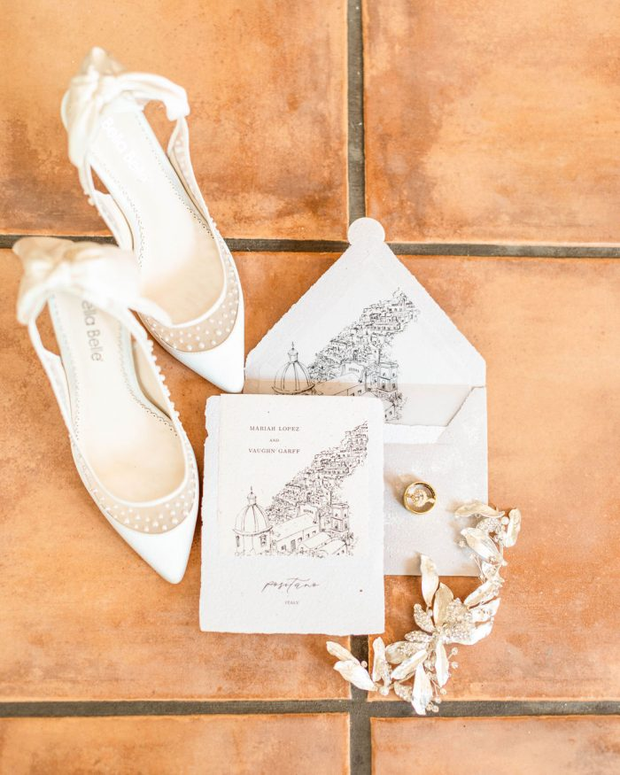 Italian Wedding Invitations with Chic White Wedding Shoes