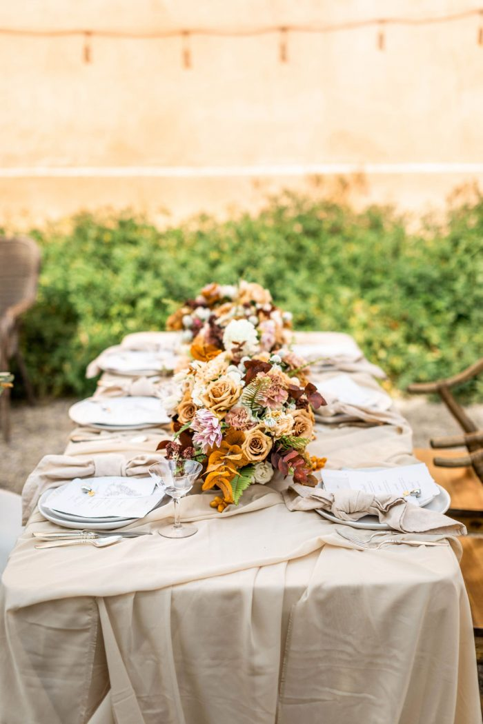 Table Settings with Rustic Floral Centerpieces for Tuscan-Inspired Wedding
