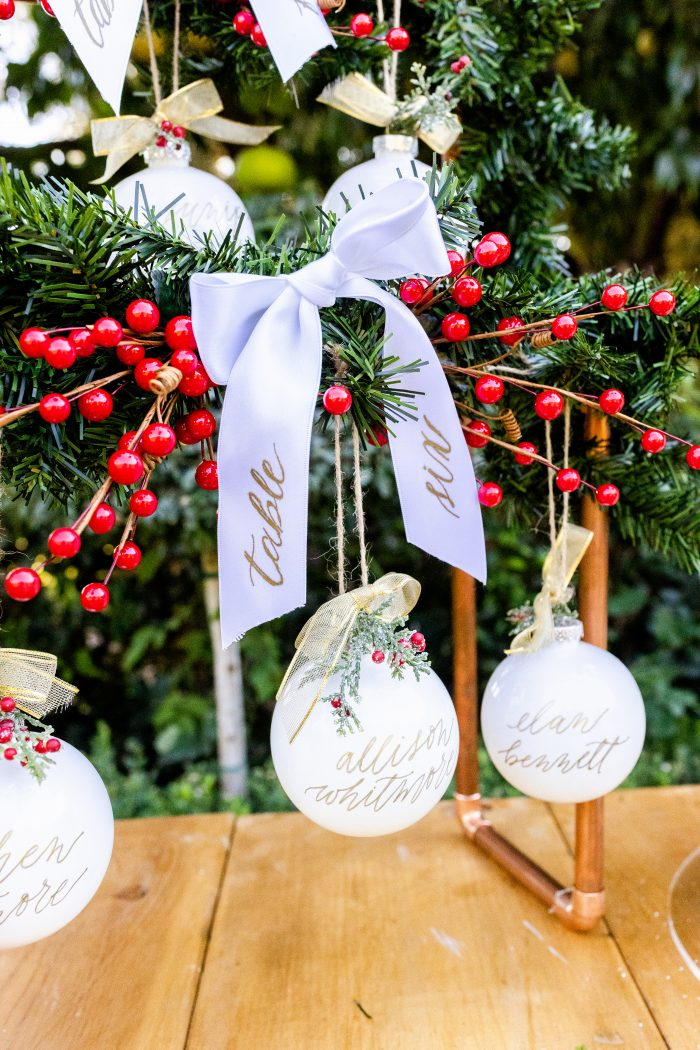 Monogrammed Ornaments for Holiday Wedding