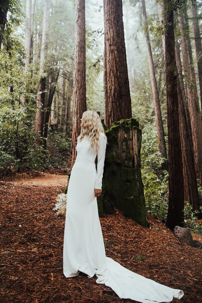Real Bride in the Red Woods Wearing Illusion Back Crepe Sheath Wedding Dress Called Arleigh by Sottero and Midgley