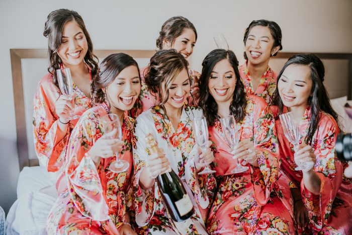 Bride with Her Bridesmaids at Bridal Shower