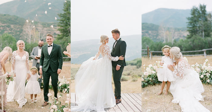Collage-of-Ashlee-Jensens-Summer-Wedding-Featuring-A-Flora-Lace-Sheath-Wedding-Dress-by-Maggie-Sottero