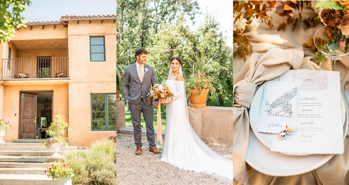 Collage of Bride and Groom with Tuscan Details at Italian Wedding Styled Shoot