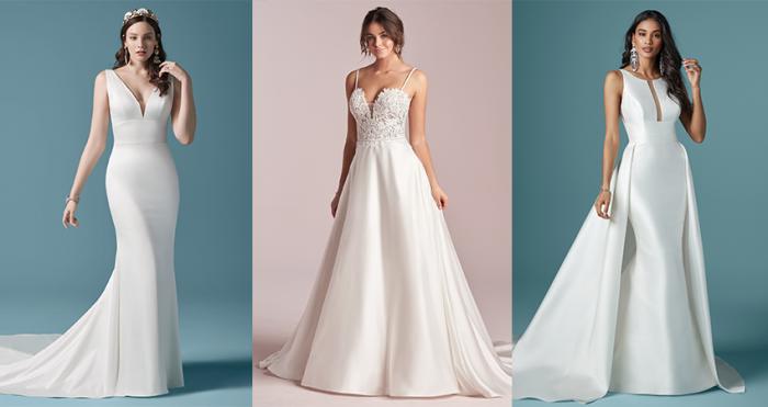 Collage of Simple Satin Wedding Dresses