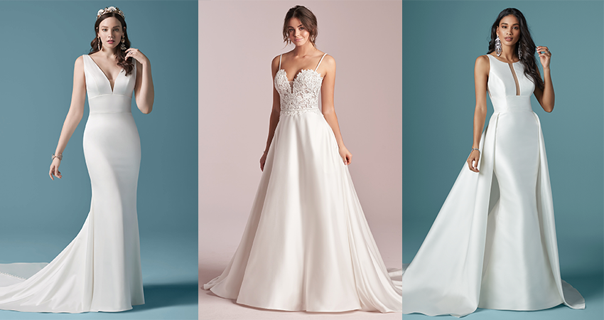 Collage of Simple Satin Wedding Dresses