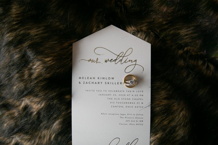Muted Gold Brown and Ivory Winter Wedding Invitations