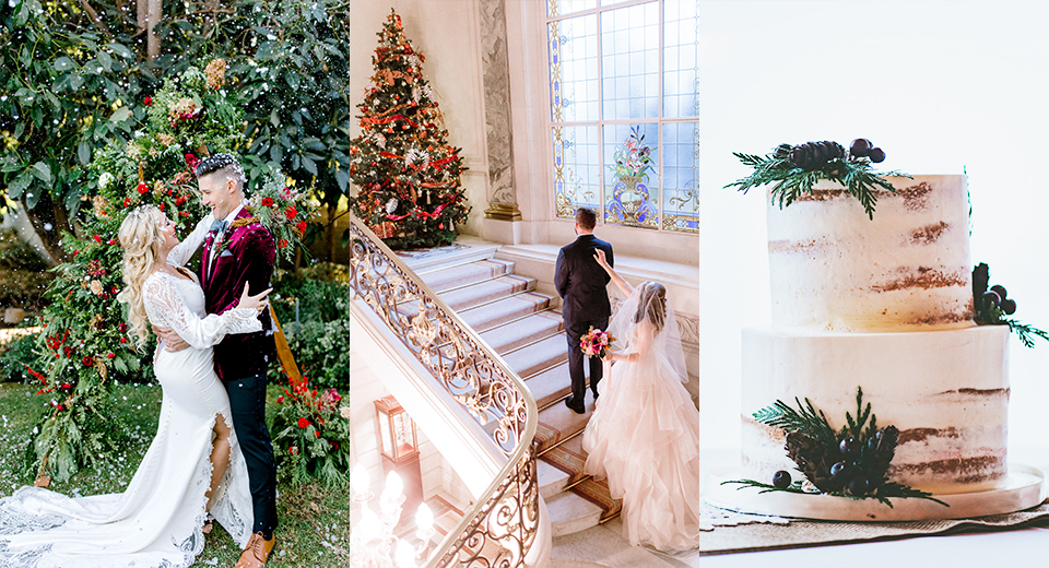 Collage of Different Holiday Wedding Ideas from Maggie Sottero's Real Brides