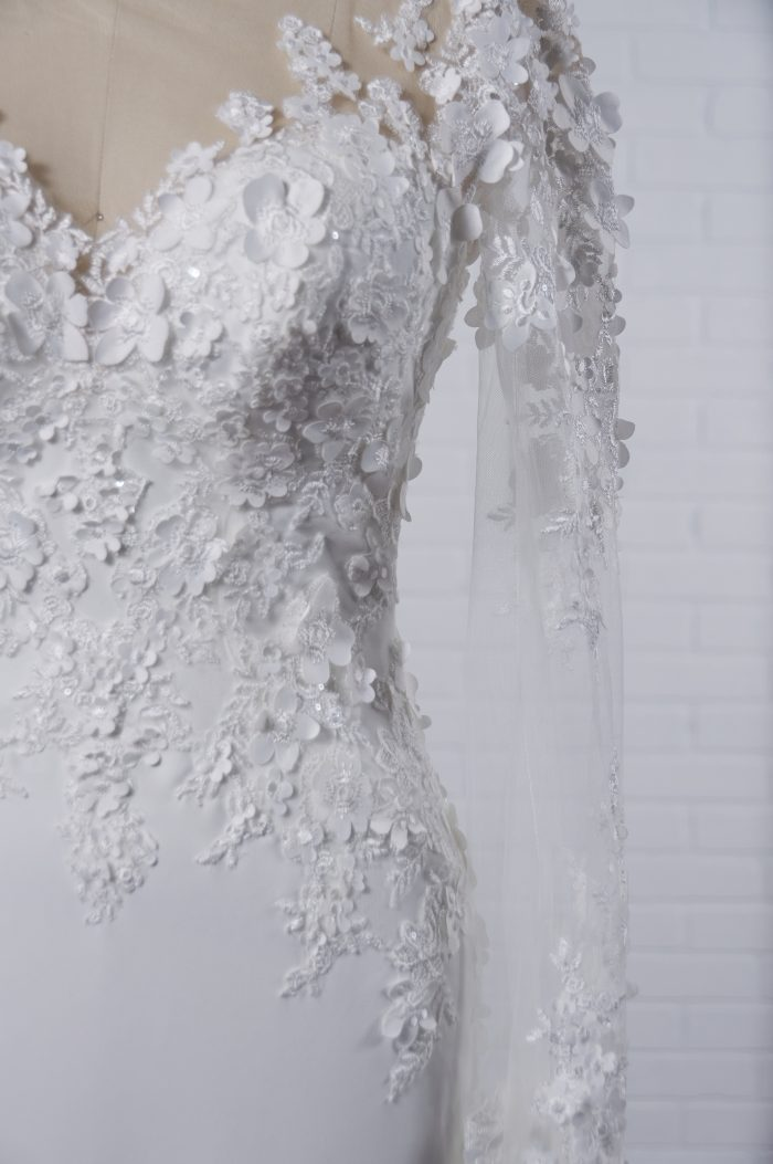 Fall 2021 Wedding Dress with Illusion Back and 3-D Floral Motifs Called Arta by Maggie Sottero