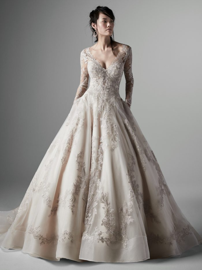 Model Wearing Cinderella-Inspired Ball Gown Wedding Dress Called Vincent by Sottero and Midgley