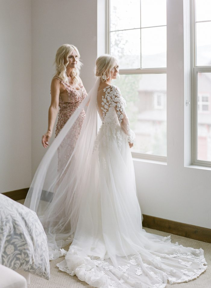 Mother of the Bride with Real Bride Before Wedding Ceremony
