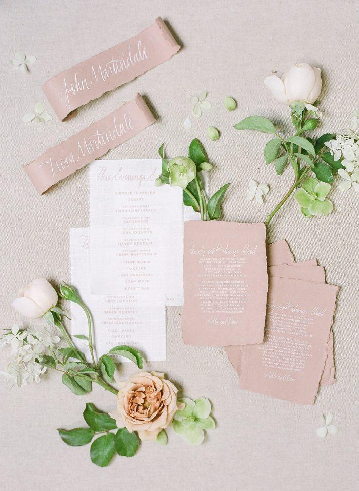 Blush and White Wedding Invites for Summer Wedding