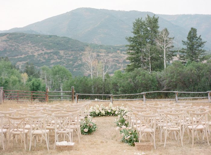 Rustic White and Floral Wedding Ceremony Space for Outdoor Summer Wedding in Utah