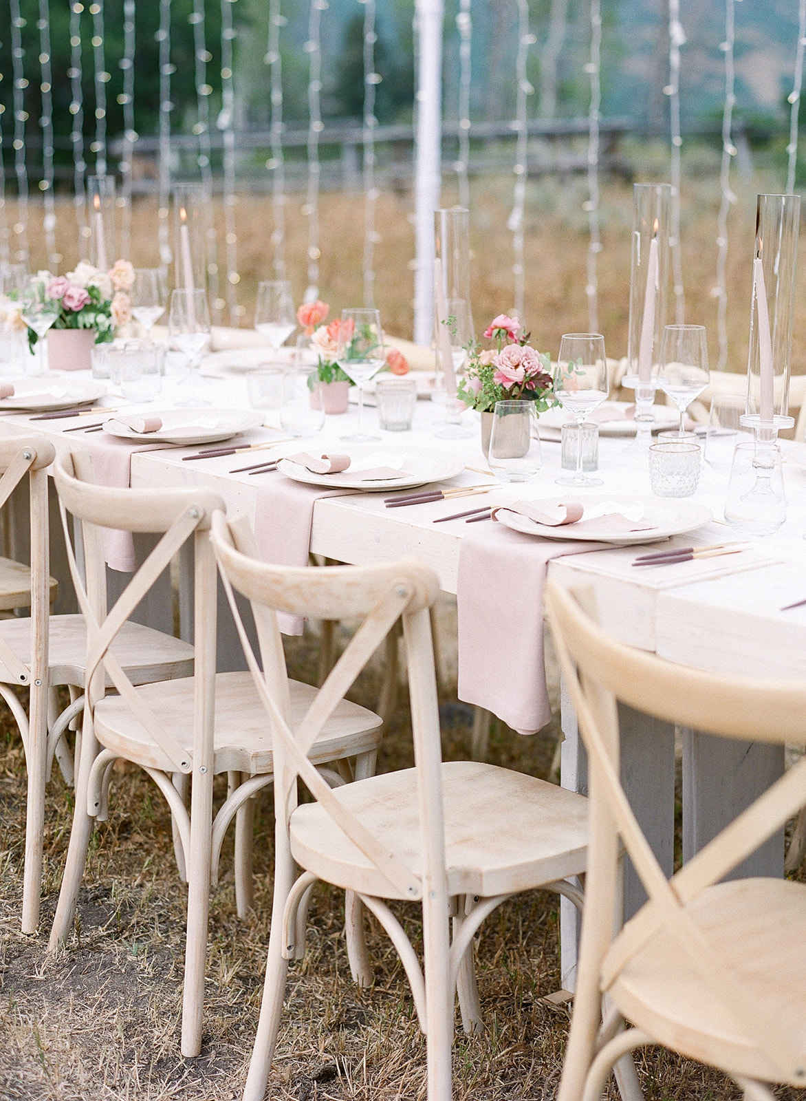 Rustic Table Settings at Summer Wedding in the Utah Mountains