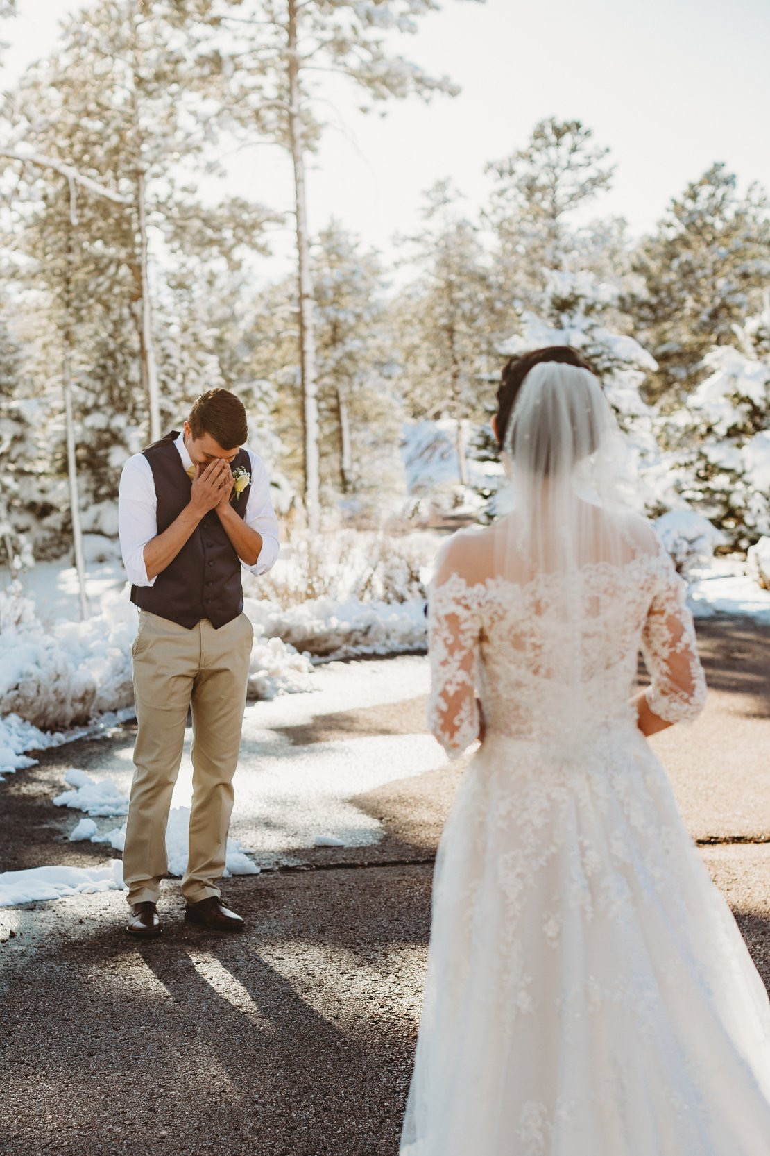 Groom Looking at Real Bride Wearing Off-the-Shoulder Lace Wedding Dress Called Bree by Maggie Sottero