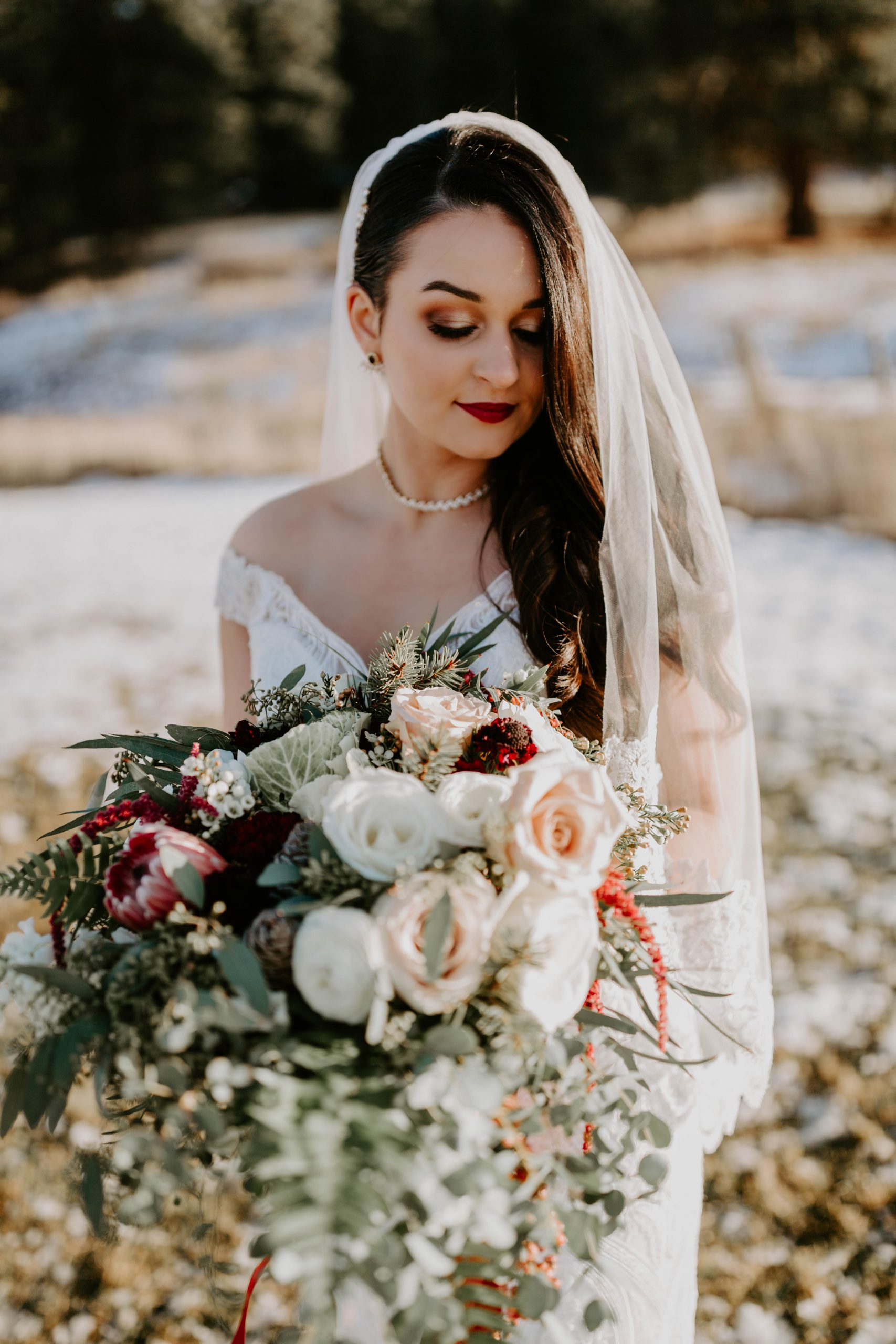 Real Bride Wearing Off-the-Shoulder Sleeve Lace Wedding Dress Called Sabra by Maggie Sottero