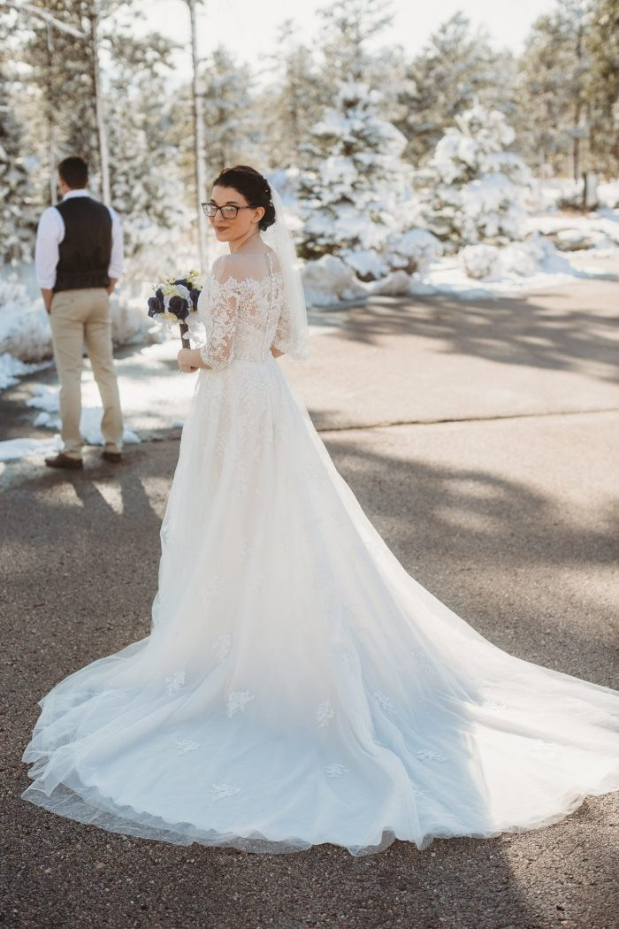 Real Bride Wearing Off-the-Shoulder Lace Wedding Dress Called Bree by Maggie Sottero