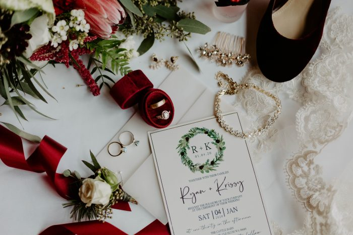 Maroon Gold and Green Winter Wedding Invites