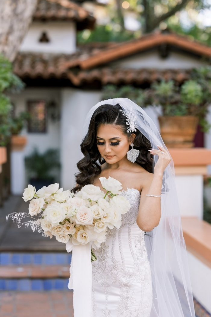 Real Bride Wearing Glamorous Satin Mermaid Wedding Dress Called Milena by Maggie Sottero