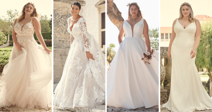 Collage of Brides Wearing the Best Wedding Dresses by Maggie Sottero for Apple Shape Body Types