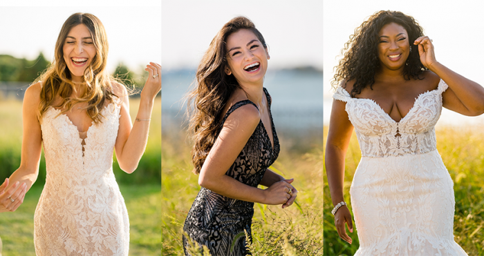 Collage of Influencers at Influencer Event Wearing Maggie Sottero Wedding Dresses